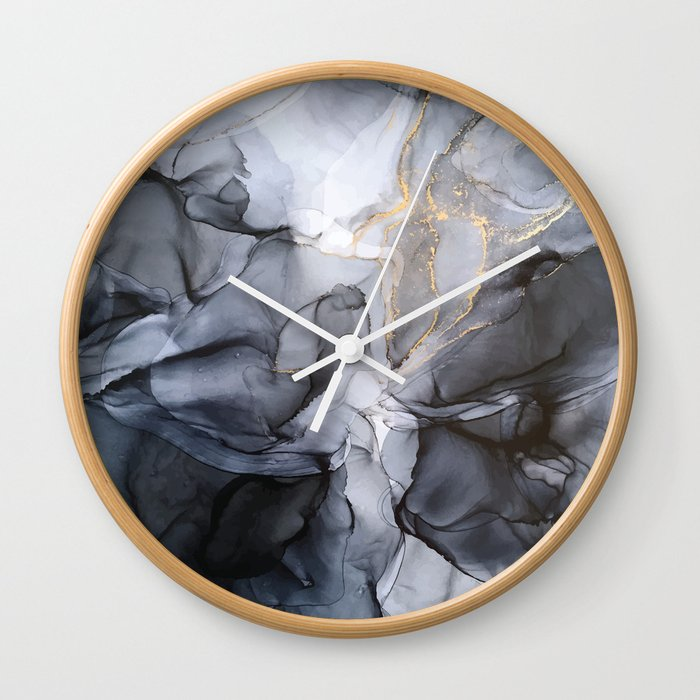 Calm but Dramatic Light Monochromatic Black & Grey Abstract Wall Clock