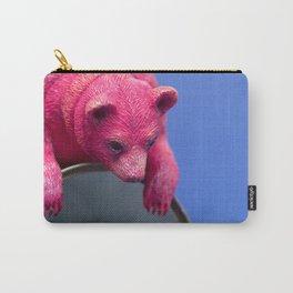 Pink Peek, Pink Bear Sculpture | Low Brow Art Carry-All Pouch