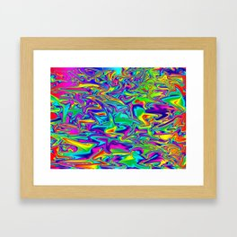 Color Chaos Multi-Colored Digital Illustration - Fluid Art Framed Art Print