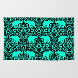 Elephant Damask Mint and Black Rug