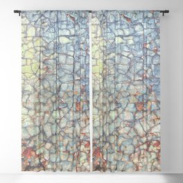 Colorful Abstract Paint and Rust Mosaic Sheer Curtain
