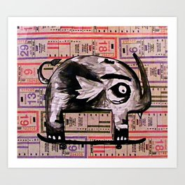 Snaggle Toothed Elephant Rides Skateboard - SF Muni Tickets Art Print