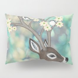 white tailed deer, white breasted nuthatches, & dogwood blossoms Pillow Sham