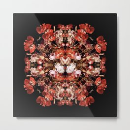 Dutch Floral Still Life Mandala Metal Print