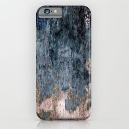 Inkwell Blue and Greige Abstract Expressionism iPhone Case