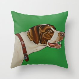 Boone the Pointer with ATM collar  Throw Pillow