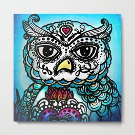 Day of the Dead Owl Metal Print
