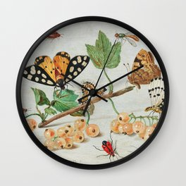 Insects and Fruits (1660-1665) by Jan van Kessel Wall Clock