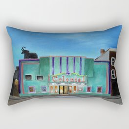 Evening at the Colonial Movie Theater Painting Rectangular Pillow