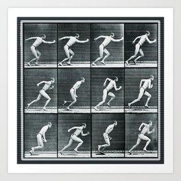 Time Lapse Motion Study Man Running Monochrome Art Print