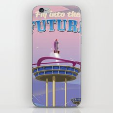 Fly into the Future space rocket vintage poster iPhone & iPod Skin