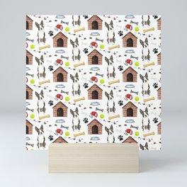 Boston Terrier Dog Half Drop Repeat Pattern Mini Art Print