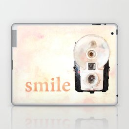 Retro Watercolor Camera SMILE! Laptop & iPad Skin