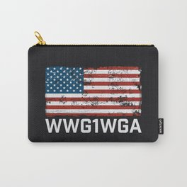 WWG1WGA WWGOWGA Where we go one we go all Red Pill USA Flag grunge style QANON the Great Awakening b Carry-All Pouch