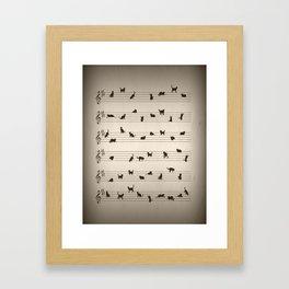 Cute Conceptual Cat Song Music Notation Framed Art Print