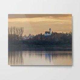 Nature lake and view to St.Martins Church Metal Print