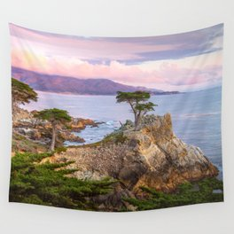 Lone Cypress Spring Sunset Wall Tapestry