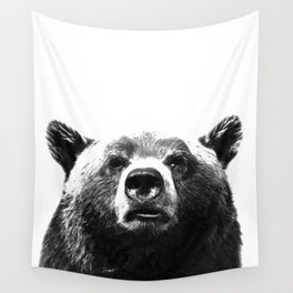 Black and white bear portrait Wall Tapestry