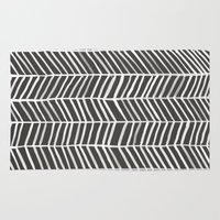 herringbone Area & Throw Rugs featuring Herringbone – Black & White by Cat Coquillette
