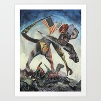 """chrono trigger Art Prints featuring """"Trigger"""" by David Ball Collage"""