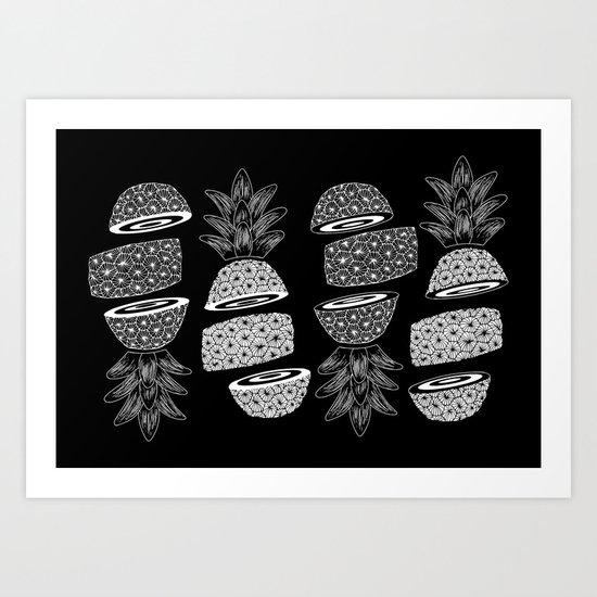 Pineapples (Dark/Sliced) Art Print
