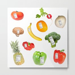 Fruits an Vegetables with Nutrition Labels Metal Print