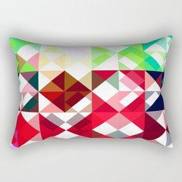 Mixed color Poinsettias 3 Abstract Triangles 1 Rectangular Pillow