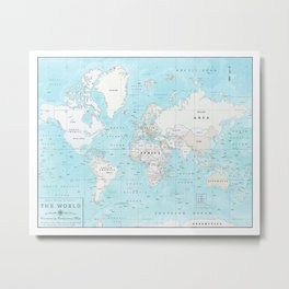 World's Oceans Bathymetry Map Metal Print