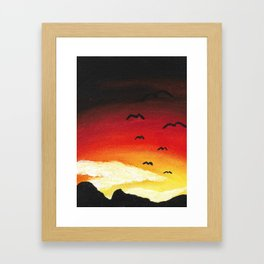 Bird Sunset Framed Art Print