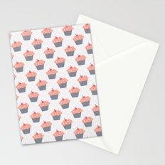 Fluffy Pink Cupcake Pattern Stationery Cards