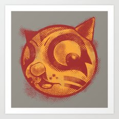 Red cat Rocka Rolla Art Print