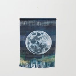 Full Moon Mixed Media Painting Wall Hanging