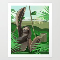 SLOTH ENJOYS COFFEE Art Print