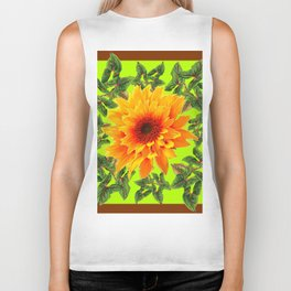 YELLOW SUNFLOWER CHARTREUSE GARDEN BROWN ART Biker Tank