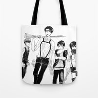 levi Tote Bags featuring Squad Levi by PaigeAWArt