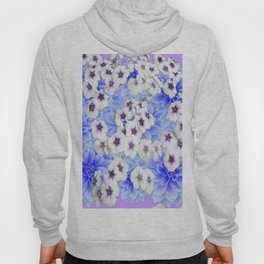 WHITE   FLORALS WITH BLUE FLOWERS Hoody