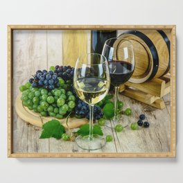 Glasses of Wine plus Grapes and Barrel Serving Tray