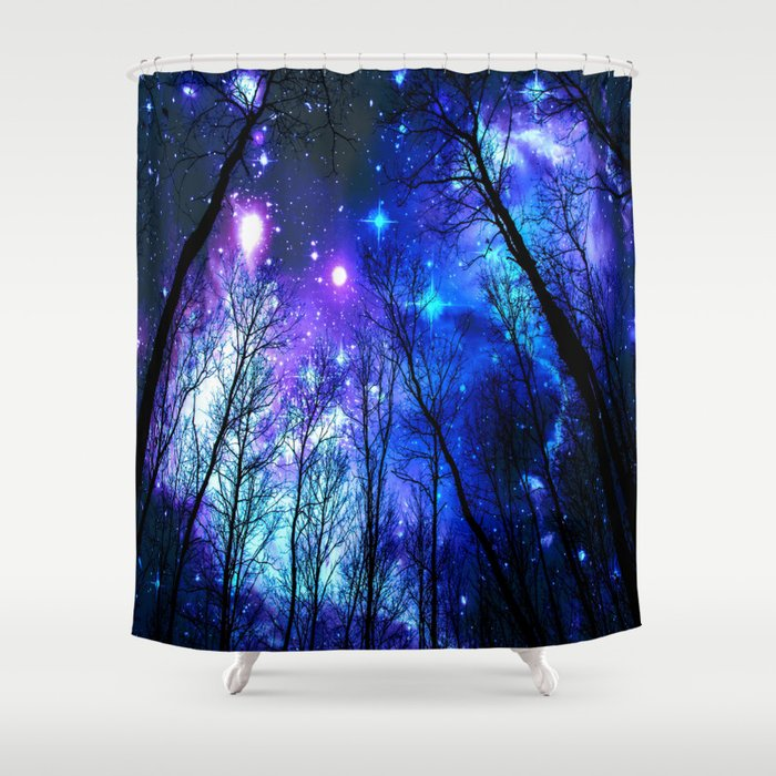Black Trees Purple Blue Space Copyright Protected Shower