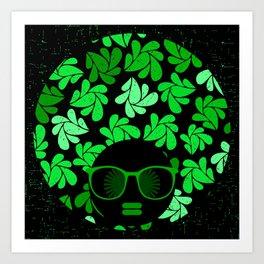Afro Diva : Green & Black Art Print