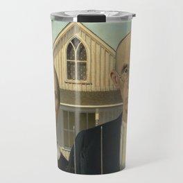 American Gothic, Classic Art Painting, Grant Wood Travel Mug