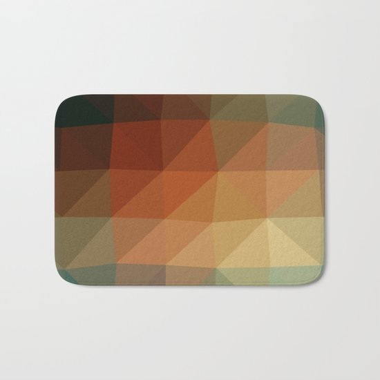 Shades Of Green And Brown Triangle Abstract Bath Mat