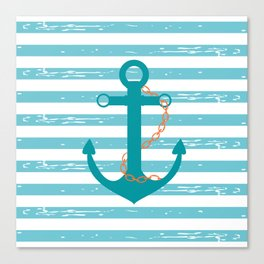 AFE Nautical Teal Ship Anchor Canvas Print