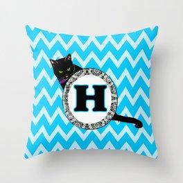 Letter H Cat Monogram Throw Pillow