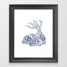 Folk Floral Indigo Deer Framed Art Print