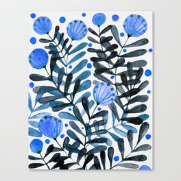 Flowers and foliage - indigo and purple Canvas Print