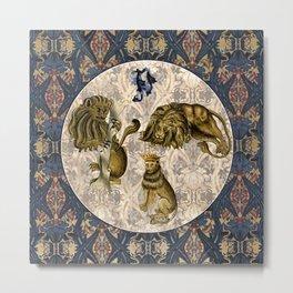 Tudor Pattern Book Wacky Lions Metal Print