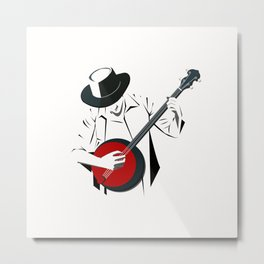 A Man Playing Banjo 2 Metal Print