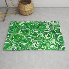 Emerald Green, Green Apple, and White Paint Swirls Rug