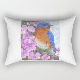 Bluebird and Pink Flowers Rectangular Pillow