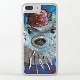 Puffer Fish with Fez Clear iPhone Case